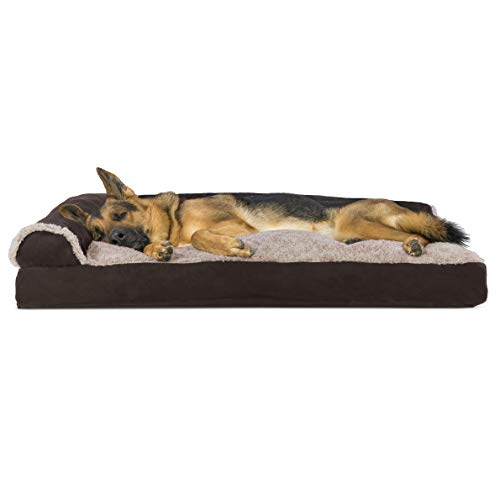 Furhaven Pet Dog Bed - Two-Tone Plush Faux Fur & Suede L Shaped Chaise Lounge Pillow Cushion Sofa-Style Living Room Corner Couch Pet Bed w/Removable Cover for Dogs & Cats, Espresso, Jumbo