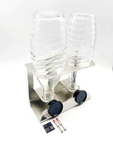 Abtropfhalter Edelstahl kompatibel für SodaStream Glasflaschen mit Deckelhalter