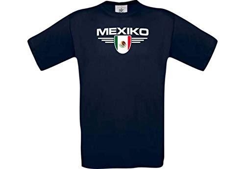 Shirtstown – Camiseta infantil, diseño de México, escudo, país, país, fútbol, camiseta de los países, camiseta de los países, camiseta de deporte, clubes de fútbol, texto en alemán azul 116 cm