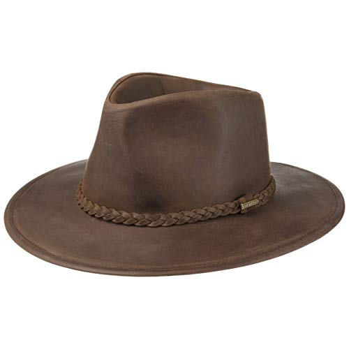 Stetson Buffalo Leather Westernhut - Lederhut Damen/Herren - Cowboyhut Sommer/Winter - Rodeohut aus Leder (Büffel) - Hut wasserabweisend - Regenhut Dunkelbraun S (54-55 cm)