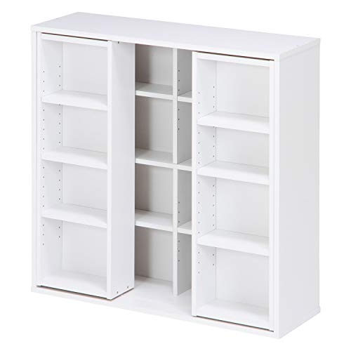 不二貿易 本棚 コミック 大容量 スライド棚 ホワイト ダブル 幅89 奥行29 高さ89cm 86031