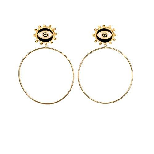 Diseño de dama minimalista negro mal de ojo gran bucle colgante pendiente minimalista largo círculo hueco declaración pendiente joyería