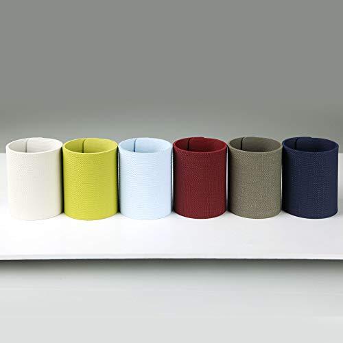 Dag Style - Set 6 Portatovaglioli Anello Colori Assortiti Eco Juta Colori Celeste, Ghiaccio, Verde, Blu, Bordeaux, Grigio