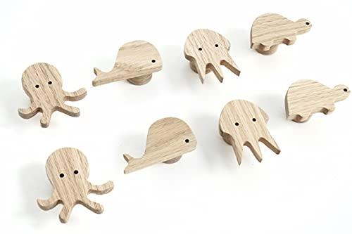 4 tiradores de madera de roble con diseño de tortuga para muebles infantiles, pomos para cómoda, armarios, cajones, puertas, habitaciones infantiles, regalos (4, tortuga)