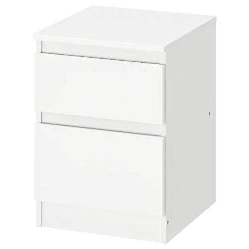 IK IKEA Kullen - Mesita de Noche con 2 cajones, Color Blanco, 35 x 49 cm