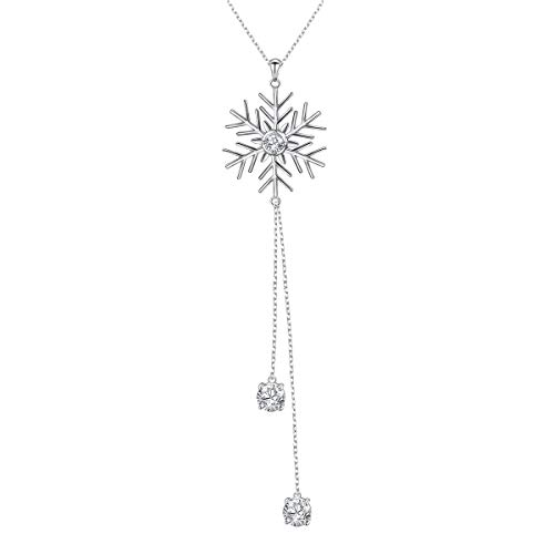 S925 Sterling Silver Snowflake Long Sweater Chain Statement Necklace Pendant for Women