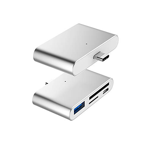 USB C OTG Card Reader, VOASTEK USB C Hub 2-Slot SD/TF/Micro SD Port Card Reader, USB C OTG to USB 3.0 Adapter and Micro USB Port with USB C Male Connector for Type C Smart Phones and Laptops Sliver