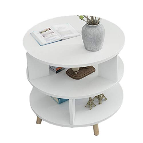 YULAN Ronde bijzettafel, salontafel, 2-laags hout, retro theetafel, woonkamer, balkon, kleine apartbank