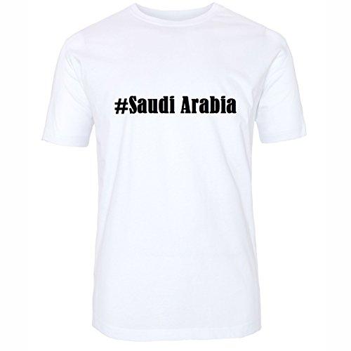 Reifen-Markt Camiseta #Arabia Saudita Hashtag para mujeres y hombres en blanco y negro