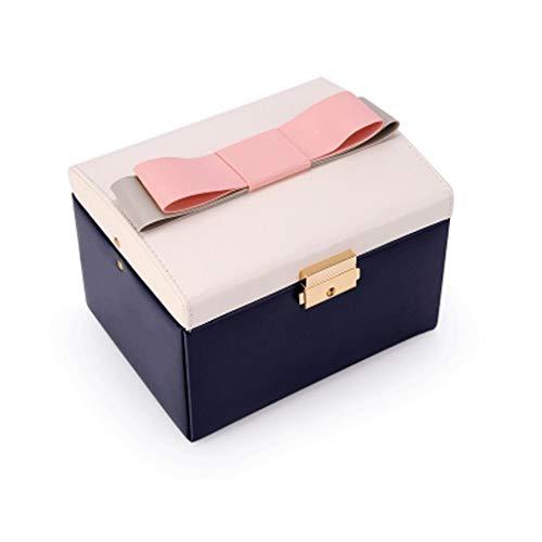 LCM Caja de Almacenamiento de joyería Bowknot Caja de Almacenamiento de Cuero con Cerradura Caja de Almacenamiento de Anillo de Estilo Europeo para Cubiertos (tamaño : 2)