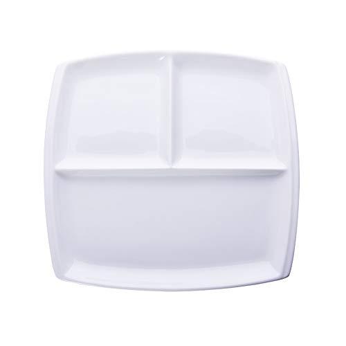 Onepine Plato De Porcelana, Platos rectangulares de Porcelana con 3 Compartimentos, Delicado y Elegante