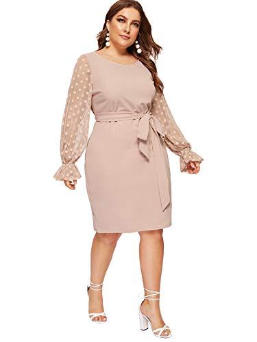 SheIn Women's Plus Elegant Dot Mesh Contrast Bell Sleeve Stretchy Bodycon Pencil Dress Dusty Pink XX-Large Plus