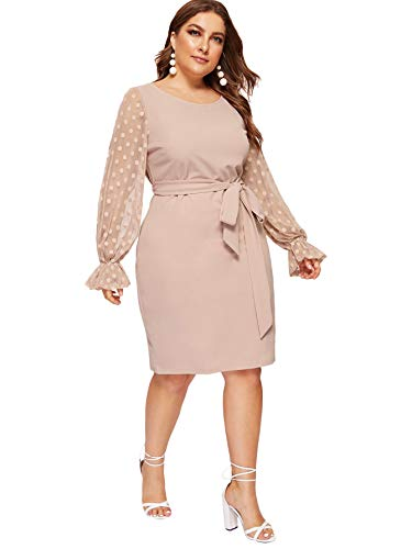 SheIn Women's Plus Size Elegant Mesh Contrast Pearl Beading Sleeve Stretchy Bodycon Pencil Dress Pink# 3X-Large Plus