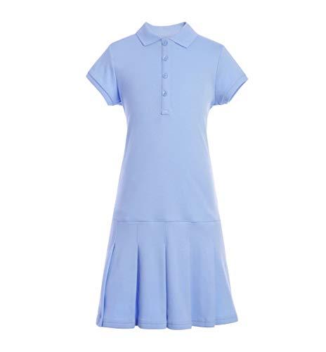 Tommy Hilfiger Mädchen Short Sleeve Girls Interlock Polo Dress Kleid, hellblau, Mittel