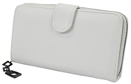 irisaa Damen Geldbörse, unifarben Portemonnaie mit 19 Kartenfächer und Kleingeldfach, Geldbeutel mit Reißverschluss, Damen Tasche:Weiß