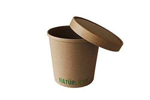 Soup to go beker natuurlijk 16 oz - ca. 350 ml met deksel, 2-delig, natuurbruin, PE-gecoat, biologisch afbreekbaar.