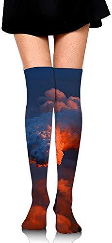 DAWN&ROSE schoorsteen open haard afdrukken Casual knie hoge sokken mode atletische kousen