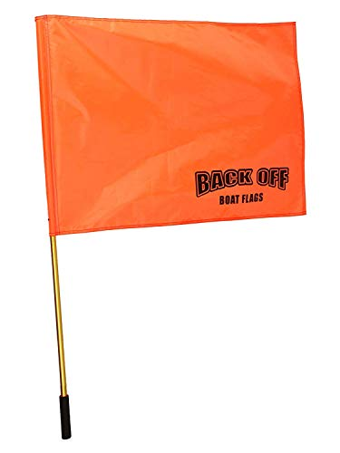 Giant Orange Boating Safety Flag with Pole for Water Skis Wakeboarding and Tubing - Universal Safety Skier Down Flag