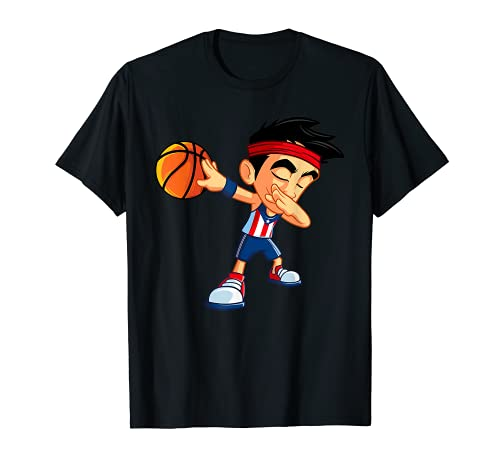 Dabbing Basketball Boy Player Puerto Rico Bandera Divertida Dab Camiseta