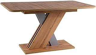 LUENRA Table de salle à manger rectangulaire (extensible), pieds marron, plateau en chêne Wotan 140 (180 cm) x 85 cm x 76 ...