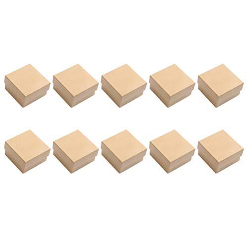 TOYANDONA 10Pcs Cajas de Regalo de Papel Caja de Almacenamiento de Joyas Caja de Envoltura de Dulces Vintage con Esponja para Cumpleaños Día de Padres Boda 8. 5X6. 5X3. 2 Cm (Color Crema)