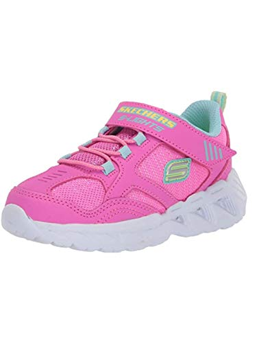 Skechers Magna-Lights, Zapatillas, Rosa (Pink & Multi Textile/Hot Pink Trim Pkmt), 21 EU