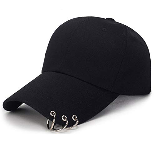 OVOY- Kpop Hat Ring Baseball-Cap - Suga-Snapback Baseball Cap Iron Rings (Black)
