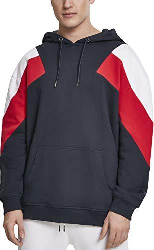 Urban Classics Herren Kapuzenpullover Oversize 3-Tone Hoody, Mehrfarbig (Navy/White/Fire Red 01243), Small (Herstellergröße: S)