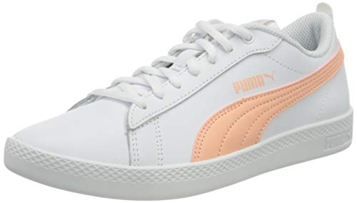 PUMA Damen Smash WNS V2 L Sneaker, Weiß Apricot Blush Schwarz, 40 EU