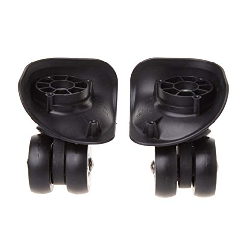 1 Paar Koffer-Ersatzrollen für Gepäck, universal, 360 Grad, Schwarz (Weiß) - JOENS-6521V