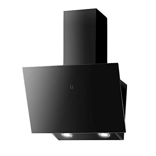 VLANO MELIA Plus EEK A+ Kopf-freie Dunstabzugshaube Glas Design/Touch Control/ECO LED/Extra leiser Brushless Motor/Abluft/Umluft (Melia Plus 60 cm Aktivkohlefilter Set, schwarz)