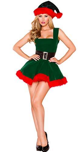 ZKDY Disfraz De Duende Verde Sexy De Santa Claus Adulto Mujer Disfraz De Navidad Disfraz Disfraz De Fiesta De Cosplay