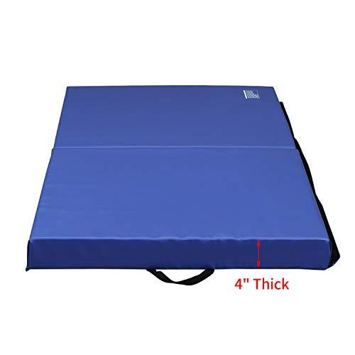 ZENOVA Gymnastics Mat 3'x6'x4'' Folding Tumbling Pad Thick Landing Mat for Home Practice,Team Sports,Wrestling,Core Workouts