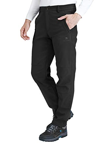 CAMEL CROWN Men's Softshell Fleece Pants Waterproof Windproof for Outdoor Mountain Ski Hiking Hunting Insulated Trousers(Black, XXL)