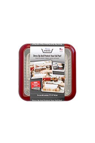 Fancy Panz FP88002C11 Red Protector and Portable Casserole Carrier, 100% Made in USA, BPA Free, Fits 8 x 8 Inch Steam, 8 x 8 Foil Pan Included