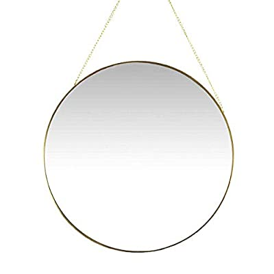 AFFOMO Hanging Wall Mirror Round Small Wall Decor Gold Mirror with Chain for Home Decor Bathroom Bedroom Living Room (Gold)