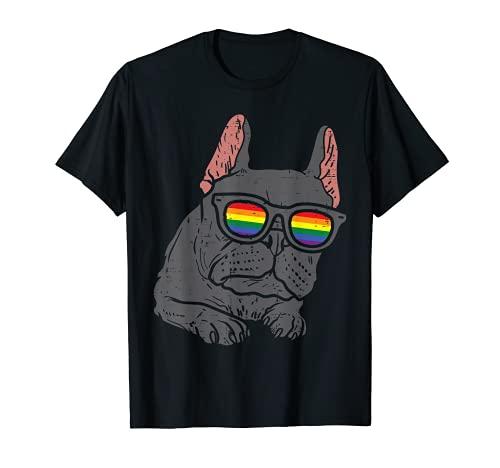 French Bulldog Frenchie Dog LGBTQ Rainbow Flag Gay Pride T-Shirt