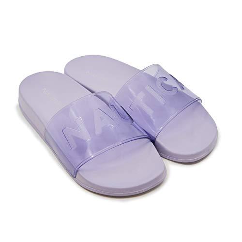 Nautica Women's Clear Transparent Strap Sandals Slides Athletic Slides, Sandals, Shower Shoe, Fashion Slide-Ammie-Lilac-9