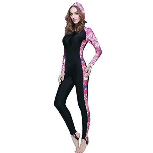 AIni Damen Neoprenanzug,Sport Wetsuit Schwimmen Surfanzug Surfen Tauchen Schnorcheln Anti UV Tauchanzug Einteiliger Schwimm Neoprenanzug Warme Schnorchelkleidung(XXXL,Rosa)