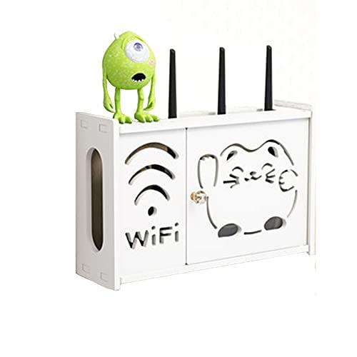 WEDSFC Estante De Pared De Almacenamiento para Enrutador Juego De WiFi Rack Cajas para Colgar En La Parte Superior Caja De Acabado,para El Hogar Y La Oficina, Fácil De Instalar,B