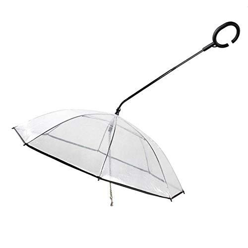 Runy Pet Umbrella,Transparent Pet Dog Umbrella C-Shaped Handle Umbrella Adjustable Dog Walking Leash Provides Protection from Rain Snow Wet Weather