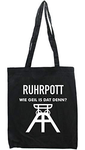 WB wohn trends Tasche Ruhrpott wie geil ist dat denn, Druckfarbe: Himmel-BLAU, Einkaufs-Beutel schwarz