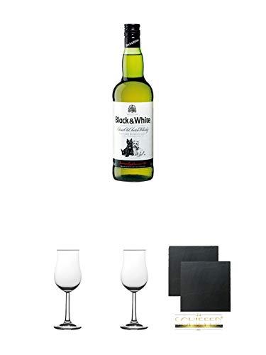 Black & White Blended Scotch Whisky 0,7 Liter + 2 Bugatti Nosing Gläser mit Eichstrich 2cl und 4cl + 2 Schiefer Glasuntersetzer eckig ca. 9,5 cm Ø