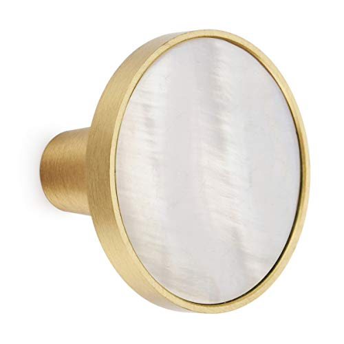 10PCS Brass Cabinet Knobs Decorative Cupboard Drawer Dresser Pulls White Mother of Pearl 1.25 inch Diameter