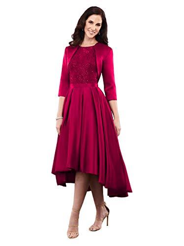 Nanger - Vestido de Novia de Encaje asimétrico con Chaqueta, Elegante para Bodas