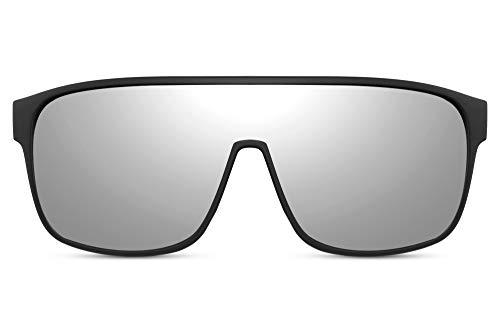 Cheapass Gafas de sol Big XL Protección Gafas con Montura de Goma Negra y Lentes Espejadas Grises Hombres Mujeres