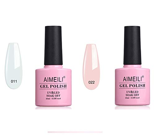AIMEILI Gel Nail Polish Rose Nude (022), and Studio White Arctic White (011)