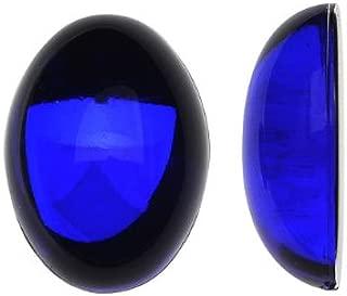 Beadaholique Vintage Lucite Plastic Oval Domed Cabochon - Sapphire/Foiled 10x14mm (12)
