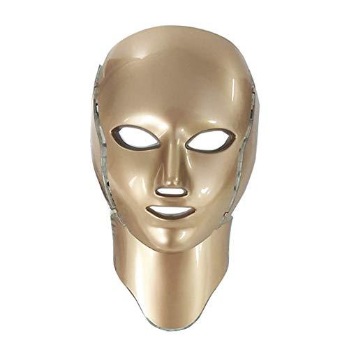 CGBF-Masque de Beauté LED Masque de Luminothérapie 7 Couleurs Acné S'atténue Les Marques D'acné Suppriment Les Cernes et Les Ridules Blanchiment de La Peau Anti-Âge Rétractable Pores,D'or
