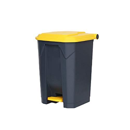 Lpiotyuljt Cubo Basura Reciclaje, Basura Can Hogar Outdoor Plástico Amarillo Oficina Multi-Especificación Pedal Al Aire Libre Tipo de Basura (Size : Medium)